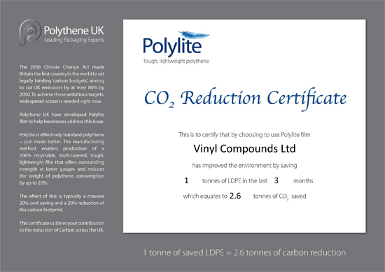 CO2 Reduction Certificate for polythene Polylite